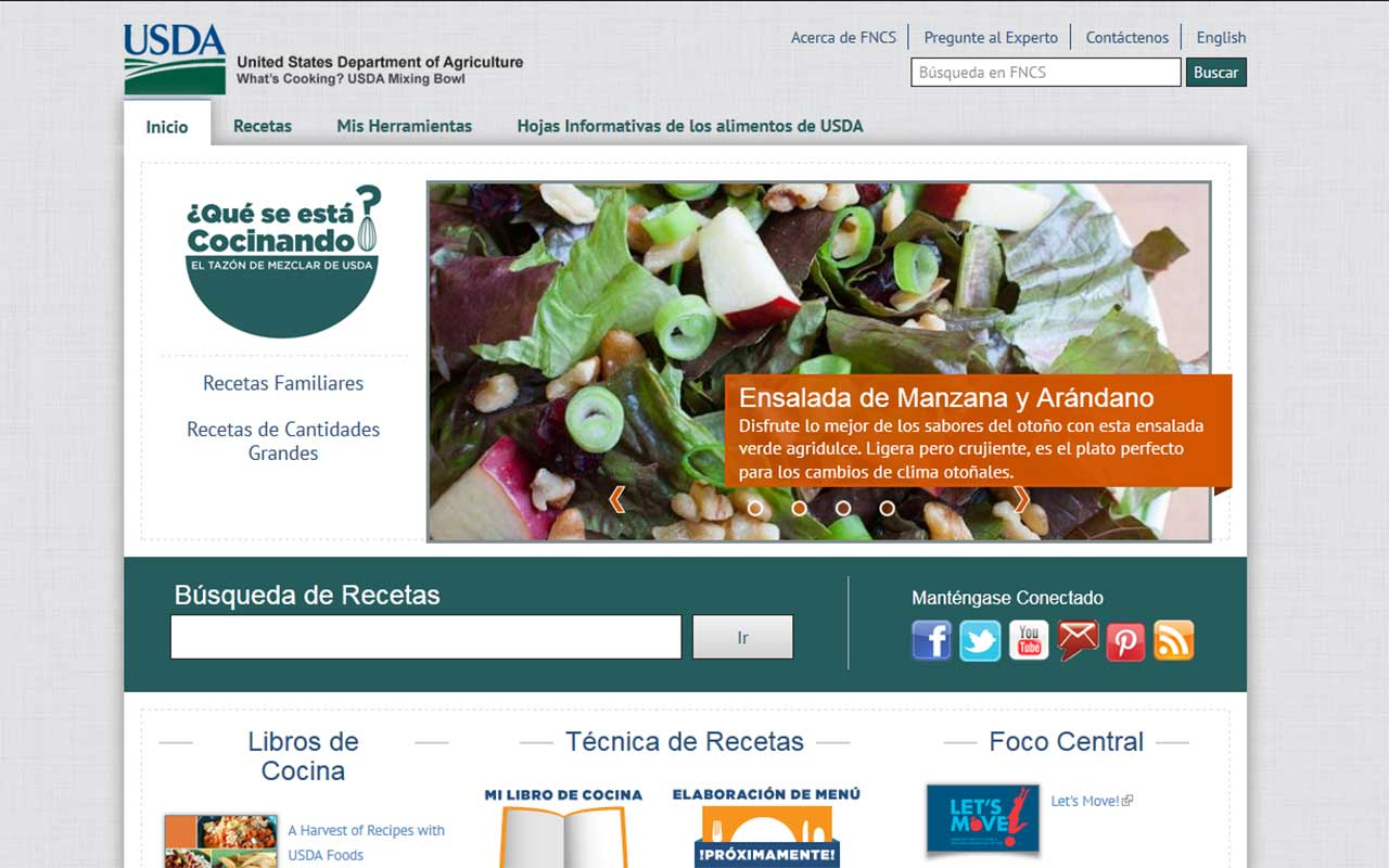 Screenshot of USDA Choose My Plate site