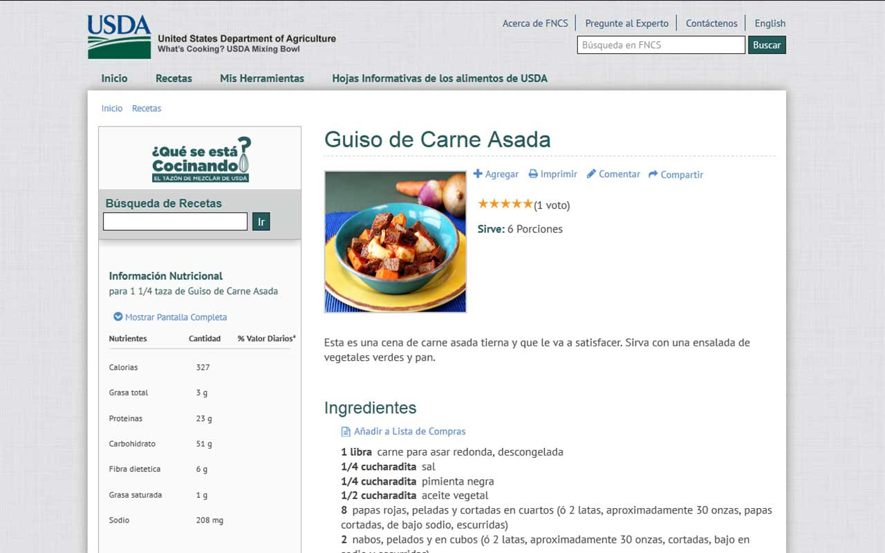 Screenshot of USDA Choose My Plate recipe