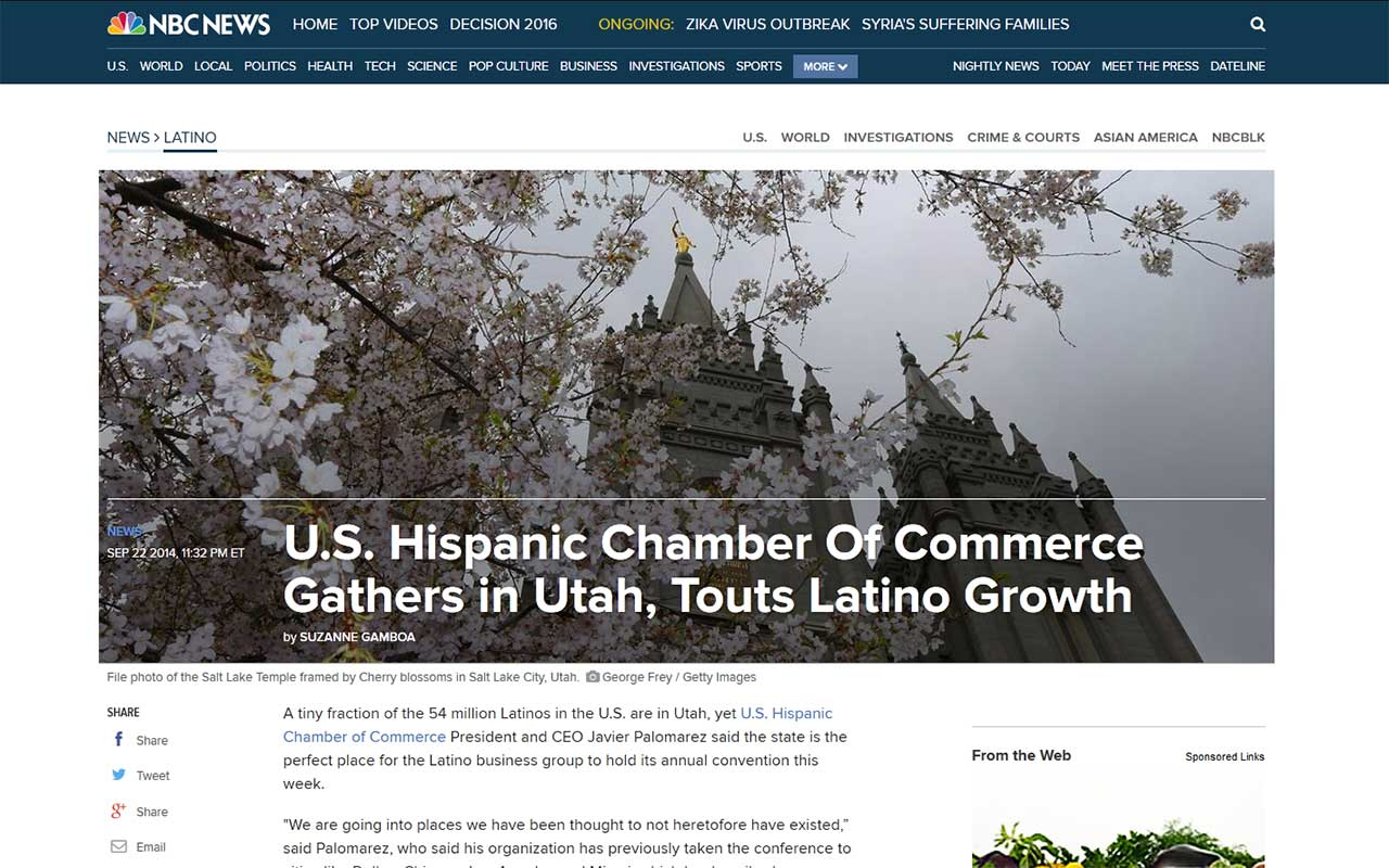 Screenshot of article: USHCC Gathers in Utah, Touts Latino Growth