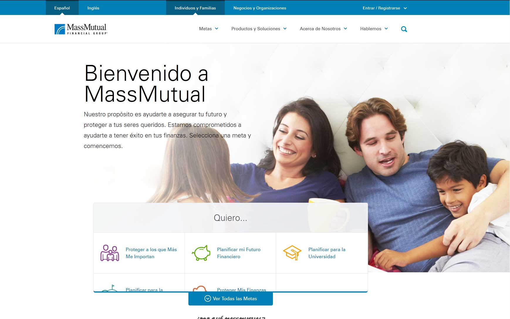 Screenshot of MassMutual Spanish site