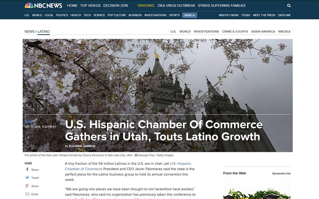 Screenshot of article: USHCC Gathers in Utah, Touts Latino Growth